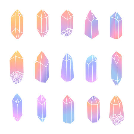 Hand drawn vector crystals set isolated on the white background. Gemstones in pastel gradient colors collection.