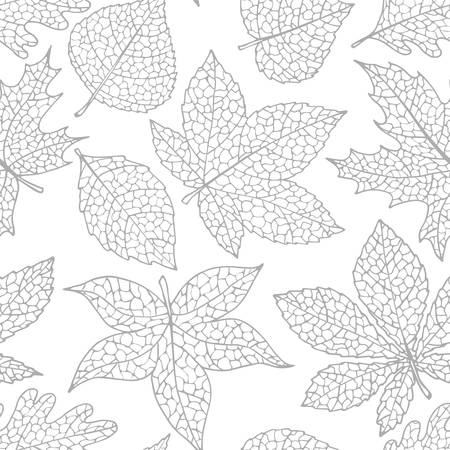 Vector autumn seamless pattern with oak, poplar, beech, maple, aspen and horse chestnut leaves of gray color on the white background. Fall ornament with detailed foliage. Ilustración de vector