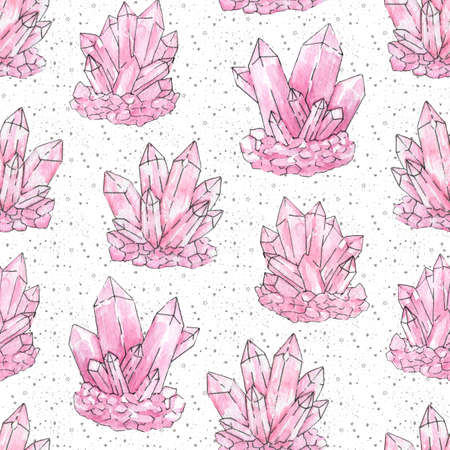 Hand painted watercolor and ink pink cluster crystals seamless pattern on the white starry background. Rose quartz geode minerals and gemstones illustration. Stock Photo