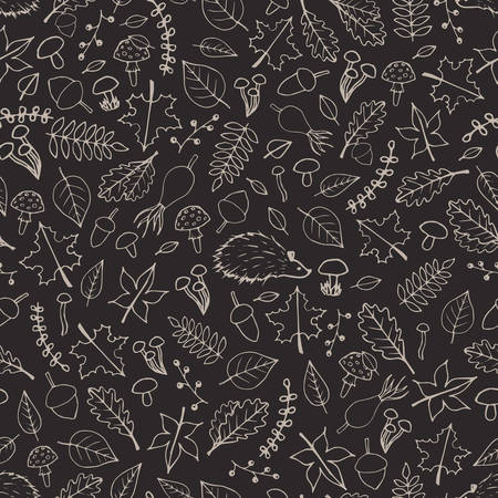 Vector hand drawn seamless pattern with autumn elements contours: foliage, berries, acorns, mushrooms, oak and maple leaves, rose hips and hedgehogs on the gray background. Cute fall ornament.