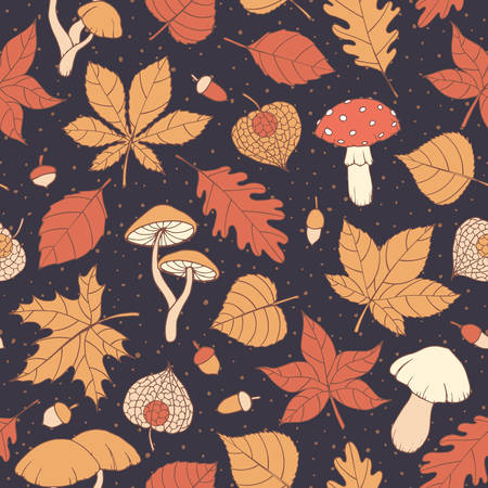 Vector autumn seamless pattern with oak, poplar, beech, maple, aspen and horse chestnut leaves, mushrooms, acorns and physalis on the dark blue dotted background. Usable for wrapping paper, covers, textile, etc.