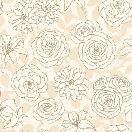 Vector seamless pattern with lily, chrysanthemum, camellia, peony and rose flowers line art on the beige background. Hand drawn floral repeat ornament of blossoms in sketch style. Usable for textile, fabric, wrapping paper, etc. Vector Illustratie
