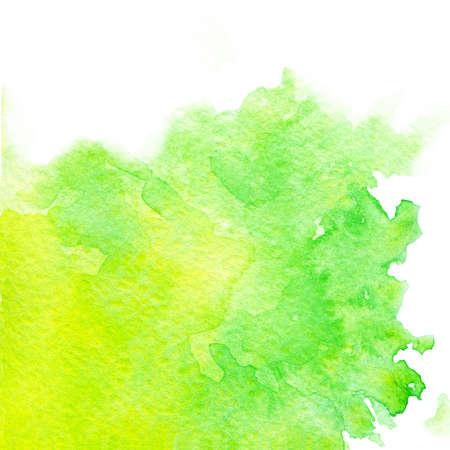 Hand painted watercolor texture of bright green and yellow colors isolated on the white background.