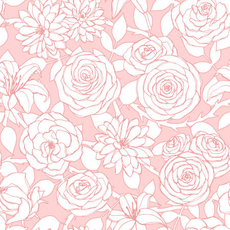 Vector repeat pattern with lily, chrysanthemum, camellia, peony and rose flowers outline on the pink background. Seamless floral ornament of blossoms in sketch style. For fabric, wrapping paper