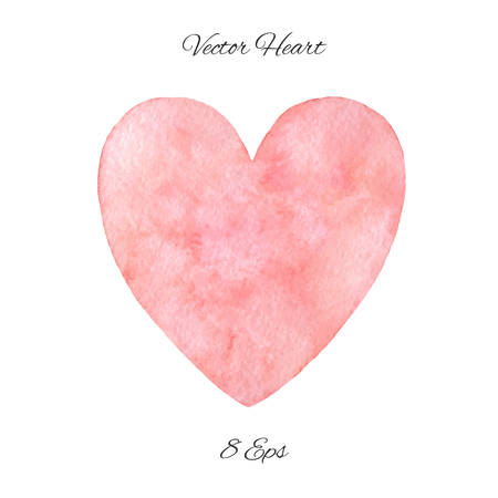 Hand painted pink watercolor heart isolated on the white background. Vector Saint Valentine's Day cute decoration.