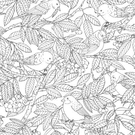 Hand drawn vector seamless pattern with birds, branches, leaves and rowanberry outline on white background. Winter decoration line art in sketch style for coloring books or wrapping paper.