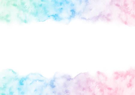 Ręcznie malowane kolorowe ramki akwarela tekstury na białym tle na białym tle. Wektor obramowania szablon dla kart i zaproszeń ślubnych w kolorach gradientu zielony, niebieski i różowy.