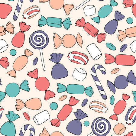 Hand drawn vector candies, canes and marshmallows seamless pattern on the beige background. Colorful holiday decoration. 矢量图像
