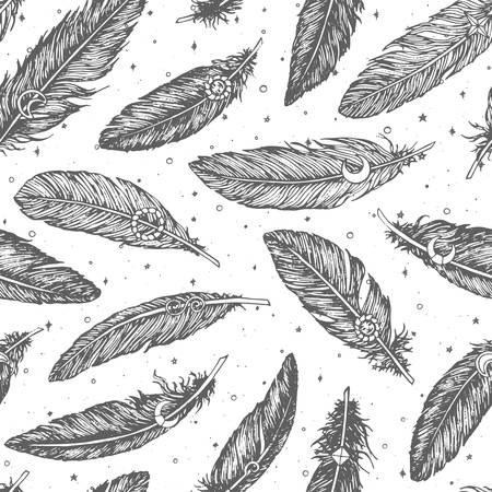 Hand drawn vector seamless pattern with detailed feathers line art on starry white background. Boho decoration for wrapping paper or coloring books. Ethnic illustration.