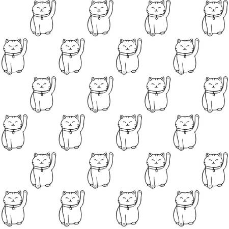 Vector hand drawn seamless pattern with japanese maneki neko lucky cats contours. Cute asian background.