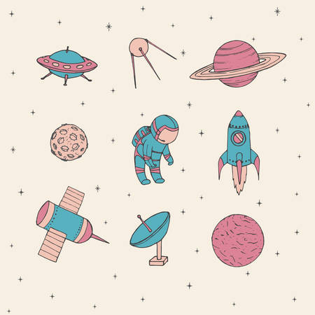 Hand drawn vector space elements: cosmonaut, satellites, rocket, planets, moon and UFO. Cute cosmos 
