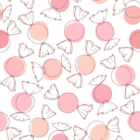 Hand drawn vector candy outline with pink and peach circles seamless pattern on the white background. Valentine's Day holiday decoration in pastel colors.