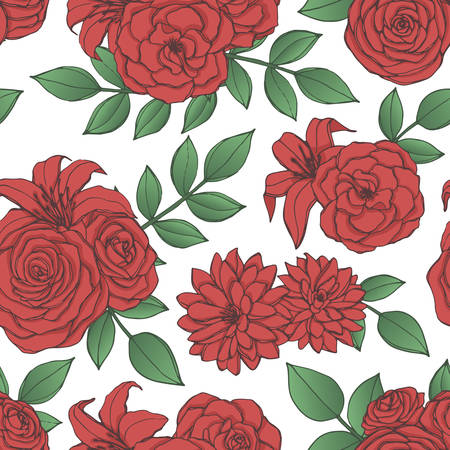 Vector repeat pattern with red lily, chrysanthemum, camellia, peony and rose flowers and leaves on white background. Seamless floral ornament of blossoms in sketch style. For fabric, wrapping paper Vector Illustratie