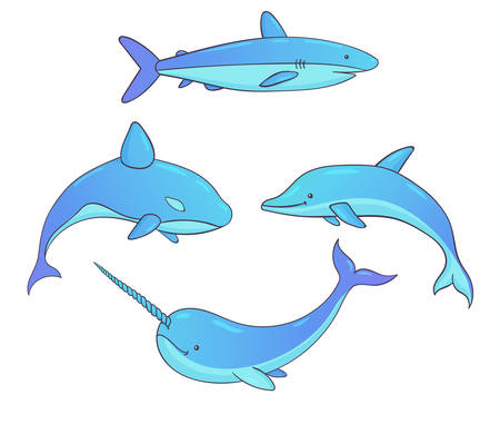 Set of vector underwater creatures with whales, shark, narwhal and dolphin. Marine animals isolated on the white background.