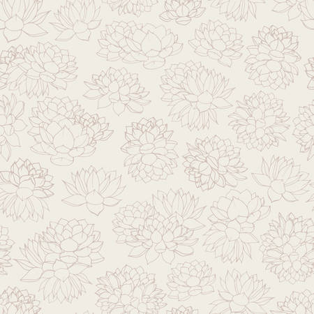 Hand drawn vector lilies contours seamless pattern on beige background. Vintage floral design in pastel colors.