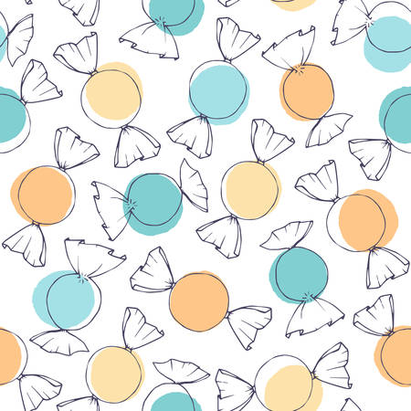 Hand drawn vector candy outline with blue and yellow circles seamless pattern on the white background. Easter holiday decoration in pastel colors for wrapping paper or textile.