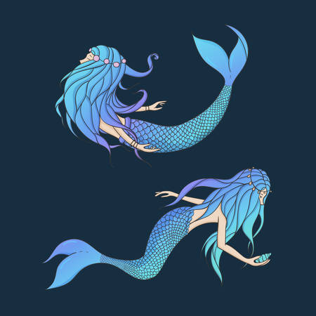 Beautiful mermaids vector set. Underwater mythical creatures isolated on the dark background. Fantasy women.