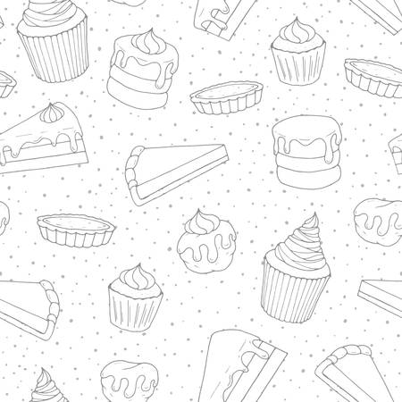 Hand drawn vector pastry seamless pattern with cakes, pies, muffins and eclairs covered with topping. Sweet 
