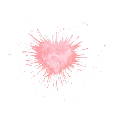 Hand painted watercolor splash texture in shape of heart. Vector pink paint blob isolated on the white background for cards or Valentine Day postcards.