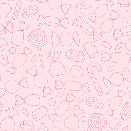 Hand drawn vector candies, canes and marshmallows contours seamless pattern on the pink background. Holiday decoration in pastel colors.