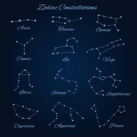 Hand drawn vector zodiac constellations: aries, taurus, gemini, cancer, leo, virgo, libra, scorpio,  sagittarius, capricorn, aquarius and pisces.