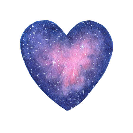 Hand painted watercolor space illustration in shape of a heart isolated on the white background. Saint  Valentines Day decoration. Zdjęcie Seryjne