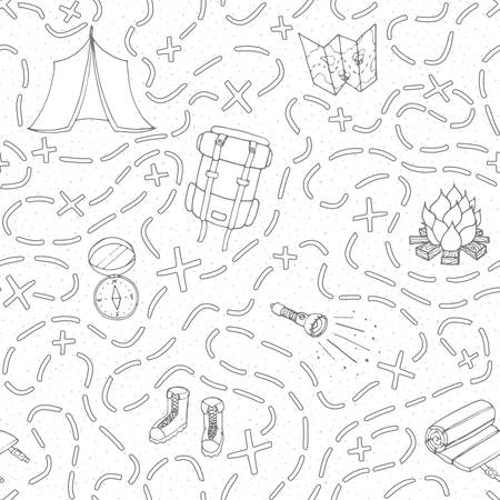 Hand drawn vector camping seamless pattern with backpack, bonfire, shoes, map, tent, sleeping bag, flashlight, compass and path to location outline. Travel theme background.