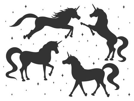 Hand drawn vector cartoon unicorn silhouettes set isolated on white background. Magic creatures with stars. 矢量图像