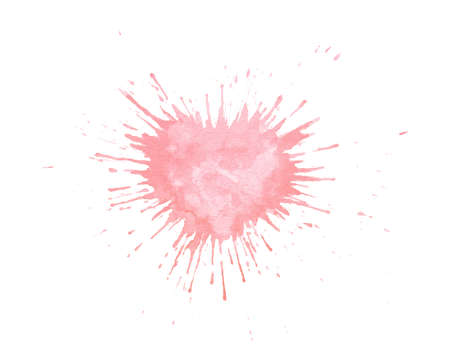 Hand painted watercolor splash texture in shape of heart. Pink paint blob isolated on the white background for cards or Valentine's Day postcards. Zdjęcie Seryjne