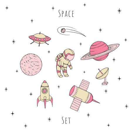 Hand drawn vector space elements: cosmonaut, satelites, rocket, planets, falling star and UFO. Cosmos set in pastel girlish colors isolated on the white background.