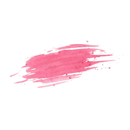Hand painted pink vector watercolor brush texture isolated on the white background. Usable for cards, invitations and more.
