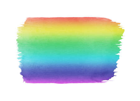Hand painted rainbow watercolor smudge texture isolated on the white background. Spectrum colors.