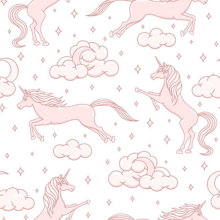 Hand drawn vector cartoon unicorns repeat pattern on white background. Pink magical creatures with stars, moons, clouds and hearts. Cute illustration for children in pastel colors.