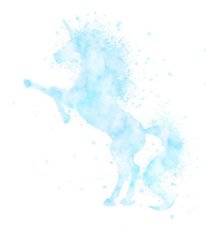 Watercolor unicorn silhouette painting with splatter isolated on white background. Blue magic creature illustration.
