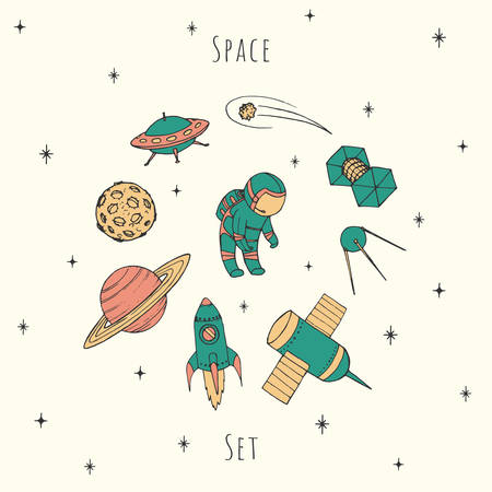 Hand drawn vector space elements: cosmonaut, satelites, rocket, planets, falling star and UFO. Colorful cosmos set in retro colors.