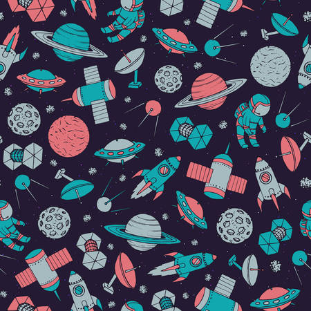 Hand drawn vector seamless pattern with cosmonauts, satelites, rockets, planets, moon, falling stars and  UFO contours. Colorful cosmic ornament on the starry dark background.