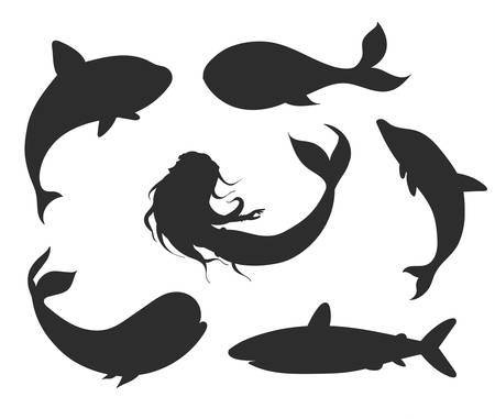 Set of vector underwater life silhouettes with mermaid, whales, shark, narwhal and dolphin. Sea creatures 