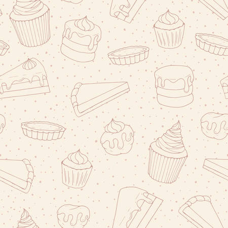 Vector pastry seamless pattern with cakes, pies, muffins and eclairs outline. Hand drawn sweet bakery 