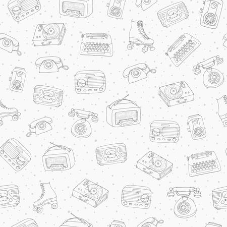 Hand drawn vector retro seamless pattern with antique tech, radio, typewriter, roller skates and vinyl 