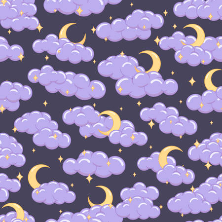 Night sky seamless pattern with clouds stars and moons. Cute children illustration for background or textile.