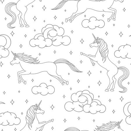 Vector cartoon unicorn seamless pattern on white background. Magical creatures outline with stars, moons and clouds. Cute illustration for children.