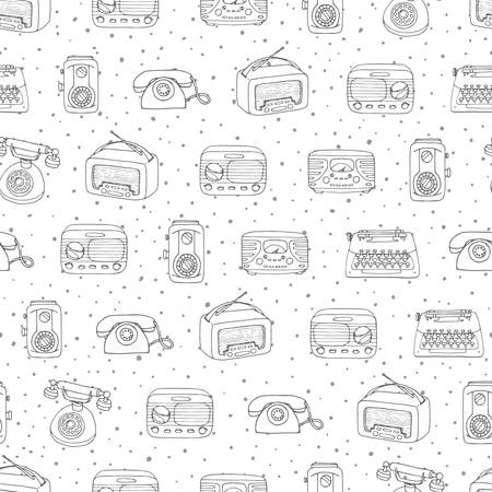 Vector retro seamless pattern with antique tech, radio and typewriter outline on the dotted background. Hand drawn vintage objects from 1950s and 1960s. Ilustracja