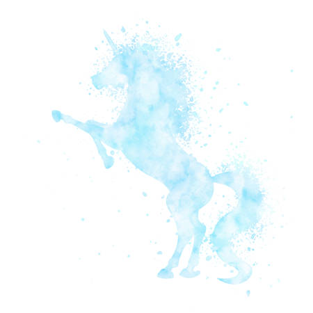 Watercolor unicorn silhouette painting with splatter isolated on white background. Blue magic creature vector illustration. 矢量图像