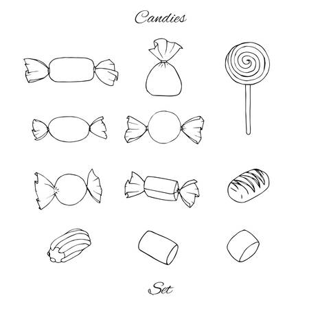 Hand drawn vector set with candies, marshmallows, caramel and lollipop isolated on the white background.  Holiday decoration elements.