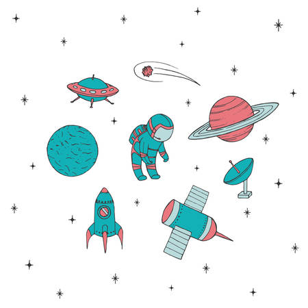 Hand drawn vector space elements: cosmonaut, satelites, rocket, planets, falling star and UFO. Colorful cosmos set isolated on the white background. Ilustracja