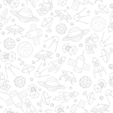 Hand drawn vector seamless pattern with cosmonauts, satelites, rockets, planets, moon, falling stars and  UFO contours. Cosmic background for education and science portals. Ilustracja