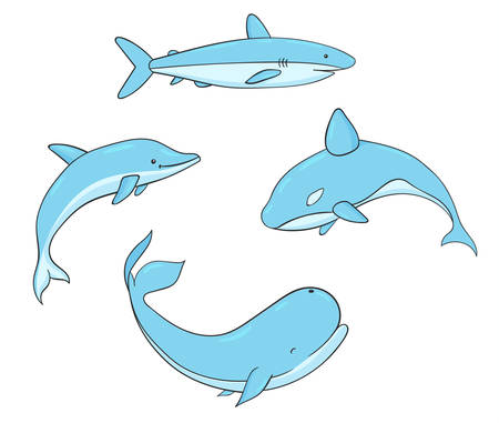 Set of vector underwater life with whale, shark, narwhal and dolphin. Sea creatures isolated on the white 