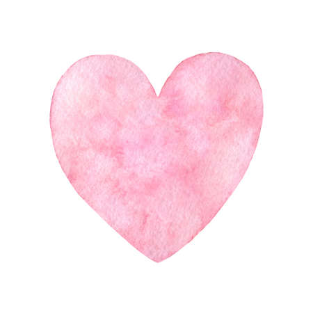Hand painted pink watercolor heart illustration isolated on the white background. Saint Valentines Day decoration.