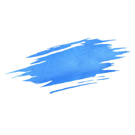 Hand painted blue vector watercolor brush texture isolated on the white background. Usable for cards, invitations and more. Illustration
