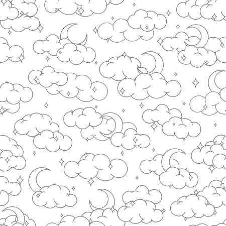 Night sky seamless pattern with clouds stars and moons outline. Cute children illustration for background or textile.